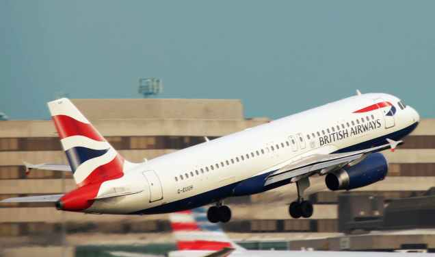 white british airways taking off the runway